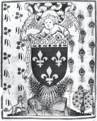 Armes et devises de Charles VI, folio d'introduction de l'Armorial de la Cour amoureuse, Vienne, Trésor de l'ordre de la Toison d'or.
