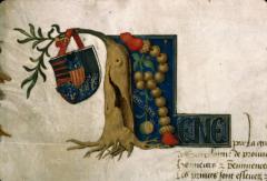 Lettrine aux armes et devise de René d'Anjou