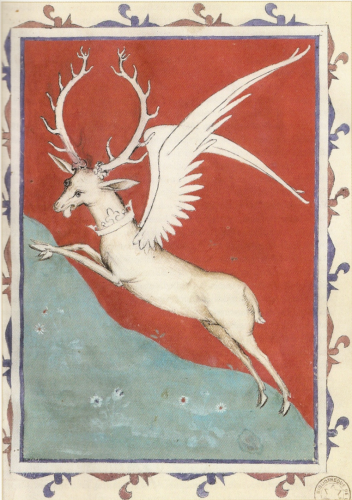 Frontispice du Songe du vieil Pélerin de Philippe de Mézières, Paris, BnF,Bibliothèque de l'Arsenal,Ms.2682, fol. 34, vers 1385.