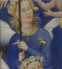 Les anges du Diptyque Wilton portant une version simplifiée du collier de la Cosse de genêt. Londres, National Gallery.