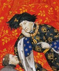 Charles VI portant le collier de la Cosse de genêt.Pierre Salmon,Dialogues, Genève, BM,Ms. fr. 165, fol. 7.