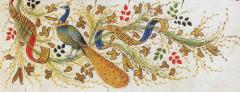 Le genêt au naturel, associé à la branche de mai, aux quatre couleurs et au mot JAMES. Détail de la marge duPierre Salmon,Dialogues, Genève, B.M.,Ms. fr. 165, fol. 7.