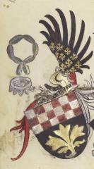Le collier de la Cosse de genêt, exposé aux côtés du Camail des Orléans et du SS Collar des Lancastre sur les armes du seigneur de Cacumine, chevlier du duc de Brieg (Briga).De Ministerio Armorum, Manchester, J. Rylands Lib., Ms. Lat.II8, fol.149