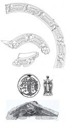 fragments de cornières de selle et de pendantà la devise de la cosse de genêt trouvés dans les fouilles du puits du Louvre. Paris, Musée du Louvre.