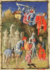 Le collier de la cosse de genêt porté par deux protagonistes de l'Epître Othéa de Christine de Pisan : Louis de Guyenne (?) - cosses devant - et Charles de Savoisy - cosses derrière - reconnaissable à sa devise des châines (Paris, BnF, Fr. 606, fol. 18)