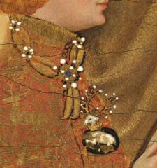 Détail du collier de la Cosse de genêt de Richard II. Diptyque Wilton, Londres National Gallery, vers 1396.