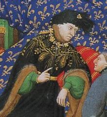 Chzrles VI portant le collier de l'ordre de la Cosse de genêt dans le type décrit par ses comptes. Dialogues de Pierre Salmon, Genève,Bibliothèque municipale, Ms.fr. 165fo4,vers 1411-1413