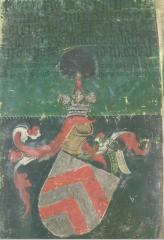 Un chevalier germanique portant la cosse de genêt. Armorial de Saint-Christophe de l'Arlberg (Wien, Haus-, Hof- und Staatsarchiv, Weiss 242. f. 27)