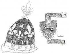 Casque et éléments de harnais à la devise du cerf volant trouvés dans les fouilles du puits du Louvre. Paris, Musée du Louvre.