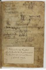 Signatures du liber amicorum des premiers folios du Chartier de Marie de Clèves. Paris, Bnf, Ms. fr. 20026, fol. 1v.